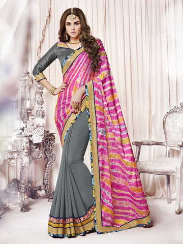 Pink & Grey color Satin Georgette half-half saree.