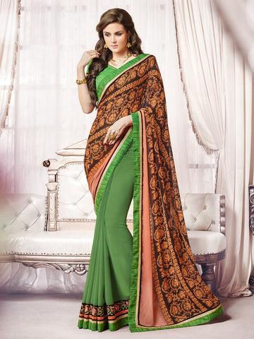 Green & Orange color  Georgette half-half saree.