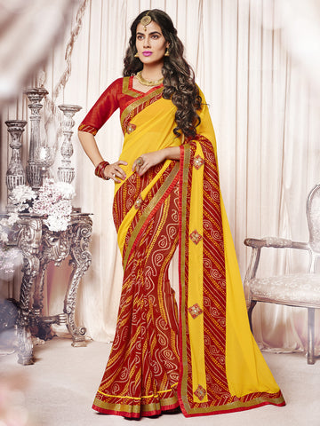 Yellow & Red color  Georgette half-half saree.
