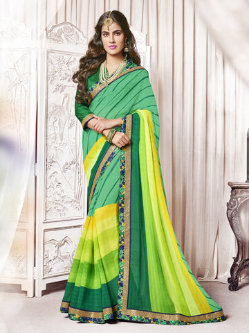 Green & Yellow color  Georgette Floral Border With Cut Paste Work Saree.