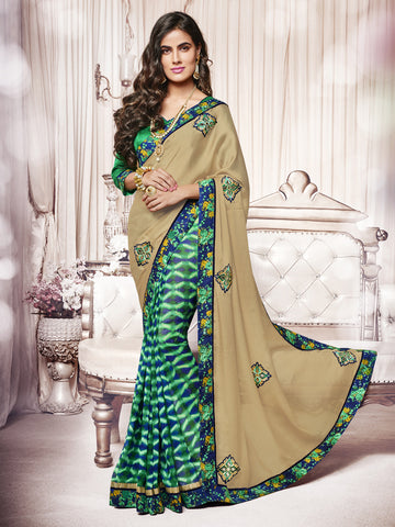 Green & Beige Color  Satin Chiffon Patch Work Half-Half Saree.
