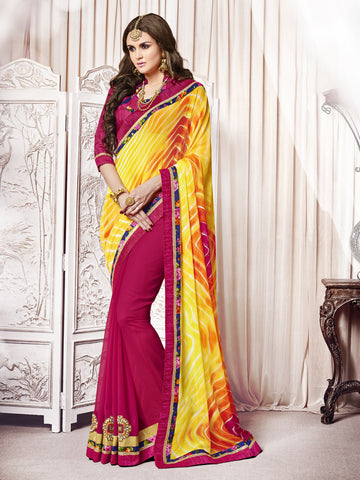 Yellow&Pink Color  Georgette Patch Work And Mirror Work Half-Half Saree.