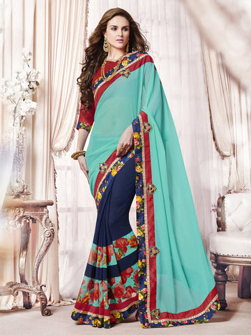Cyan & Violet Color  Georgette Patch Work Half-Half Saree.
