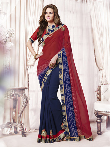 Violet & Red Color Georgette Patch Work Half-Half Saree.