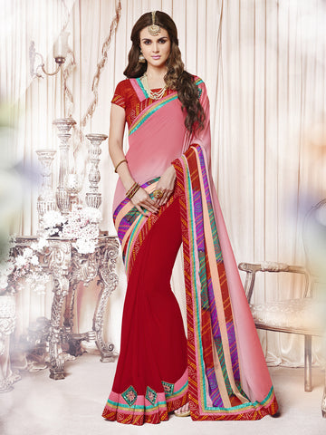 Pink And Red Color Georgette Patch Work With Mirror Work Half-Half Saree.