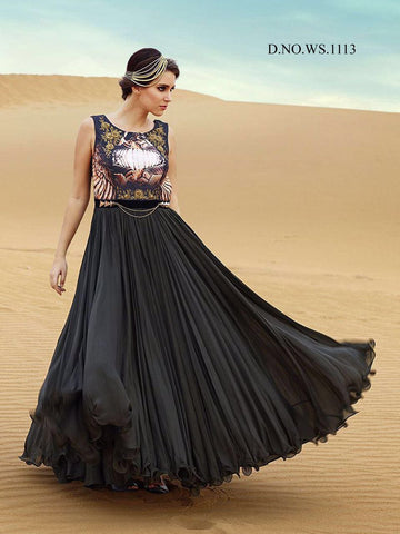 Rukhad Fashion new Trendy Digital print Gown black color , Gown- Rukhad Fashion