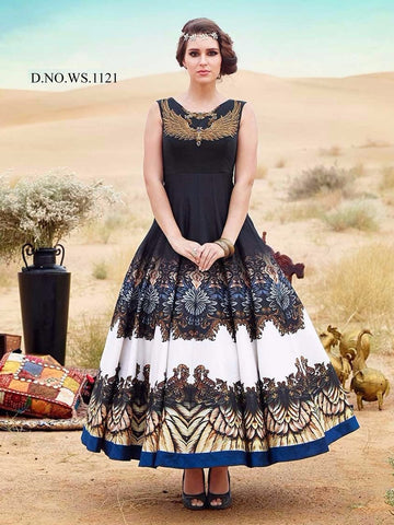 Rukhad Fashion new Trendy Digital print Gown , Gown- Rukhad Fashion