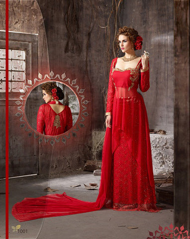 Rukhad  Fashion Red Color Net Gown