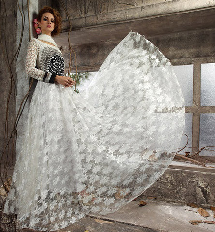 Rukhad  Fashion White Color Net Gown