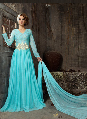 Rukhad  Fashion Sky Blue Color Net Gown