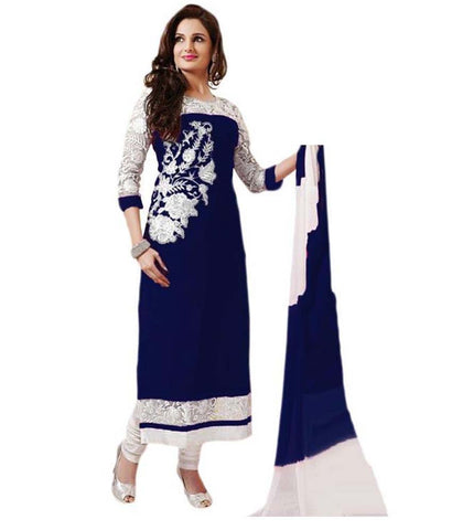 Blue Color New Georgette Semi-Stitched Suit , DRESS MATERIAL- Rukhad Fashion