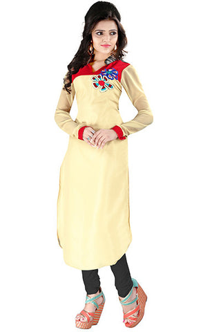 Rukhad Fashion's Cream And Red Georgette Trendy Kurti , Kurti- Rukhad Fashion