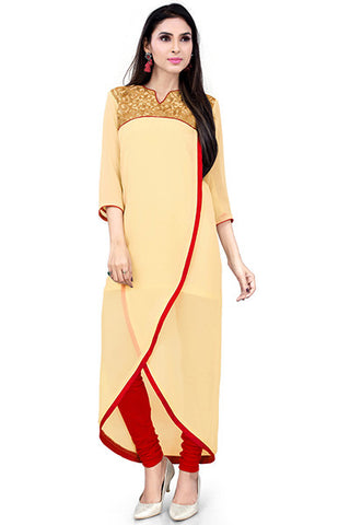 Rukhad Fashion's Collection Designer Embellished Cream And Gold Kurti , Kurti- Rukhad Fashion