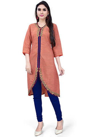 Rukhad Fashion's Collection Designer Light Orange Kurti , Kurti- Rukhad Fashion