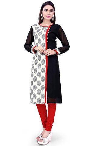 Rukhad Fashion's Collection Designer Embellished White And Black Kurti , Kurti- Rukhad Fashion