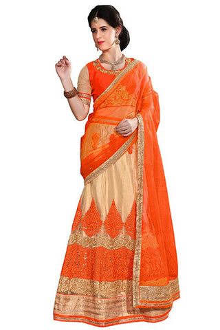 Rukhad Fashion's Designer Orange And Gold Lehenga , lehenga- Rukhad Fashion