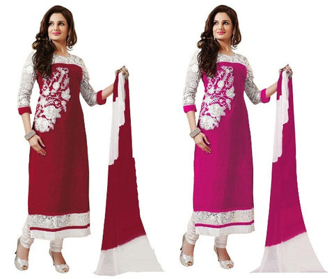 Special Red & Pink  A-line Combo Semi-Stitched Dress Material