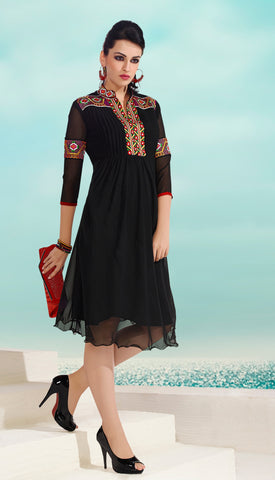 Black Colored Georgette Floral Embroidery Work Designer Stitched Kurti