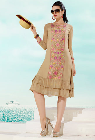 Beige Colored Georgette Floral Embroidery Work Designer Stitched Kurti