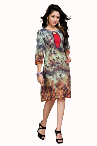Beige & Brown Colored Cotton Printed Designer Stitched Kurti