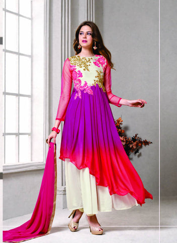 Multi Colored Geoegette Fabric Heavy Embroidered Semi Stitched Anarkali Suit