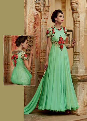 Mint Green Colored  Premium Net Fabric Heavy Embroidered Semi Stitched Anarkali Suit