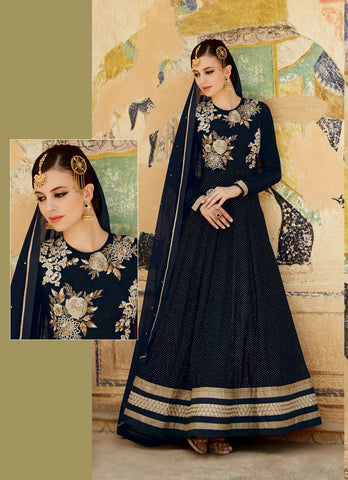 Black Colored  Premium Net Fabric Heavy Embroidered Semi Stitched Anarkali Suit