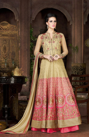 Beige & Pink Color Silk Fabric Embroidery Work Designer Anarkali Suit