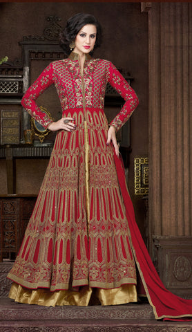 Maroon Color Georgette Fabric Zari Work Designer Anarkali Suit