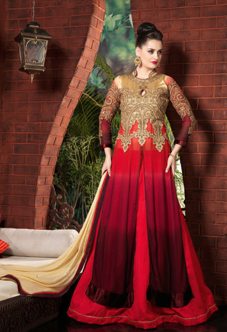 Gold & Red & Maroon Color Georgette Fabric Embroidery Work Designer Anarkali Suit