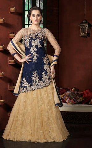 Blue Color Georgette Fabric Embroidery Work Designer Anarkali Suit