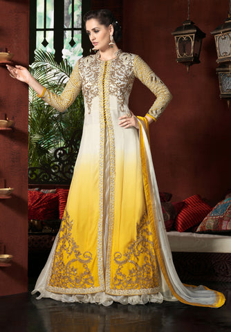 White & Yellow Color Georgette Fabric Embroidery Work Designer Anarkali Suit