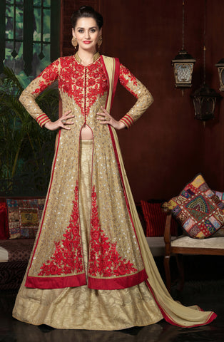 Beige Color Georgette Fabric Embroidery Work Designer Anarkali Suit