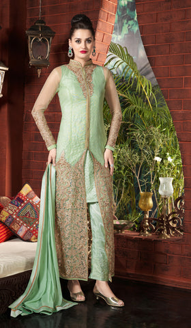 Pastel Green Color Soft Net Fabric Embroidery Work Designer Anarkali Suit