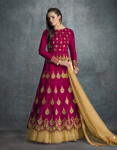 Dark Fuchsia Colored Banglori Silk Embroidery Work Anarkali Suit.