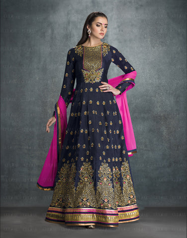 Dark Blue Colored Faux Georgette Embroidery Work Anarkali Suit.
