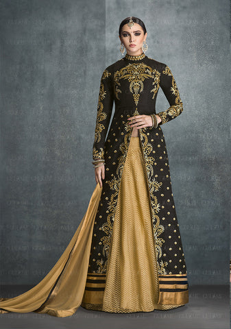 Black Colored Banglori Silk Embroidery Work Anarkali Suit.