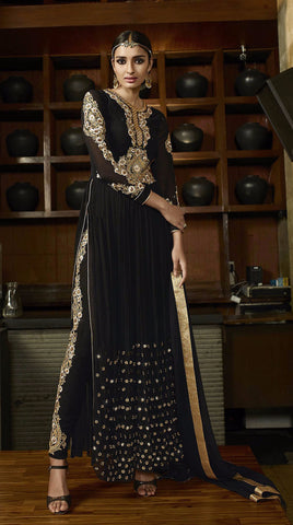 Black Colored Royal Georgette Zari Embroidery Work Designer Anarkali Suit.
