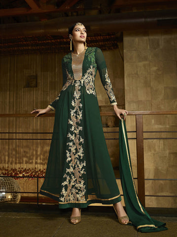 Dark green Colored Royal Georgette Zari Embroidery Work Designer Anarkali Suit.