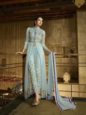 Aqua blue Colored Royal Georgette Zari Embroidery Work Designer Anarkali Suit.