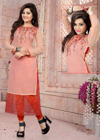 Dusty Pink Colored Georgette Embroidered Designer Stitched Kurti