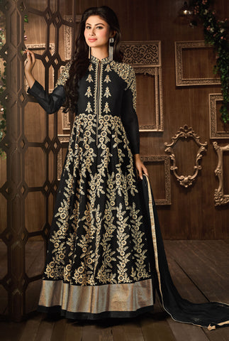 Black Colored faux Georgette Kasaab zari Work With Hand Work Designer Anarkali Suit.