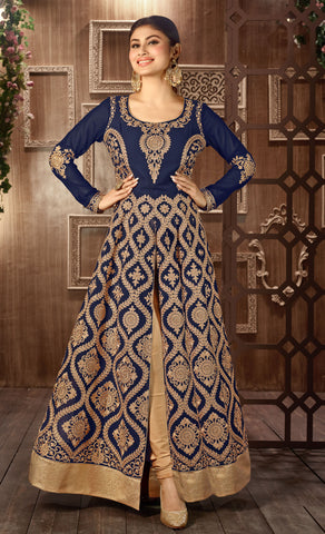 Blue Colored faux Georgette Dori Work With Tachab Stone Designer Anarkali Suit.