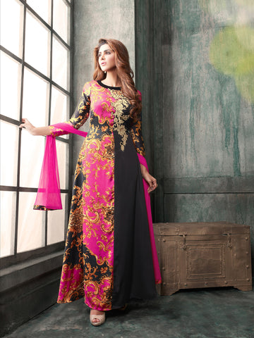 Black And Pink Colored Japan Satin Silk Printed With Embroidery Anarkali Suit.