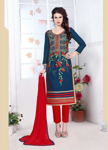 Blue Color Glass Cotton Embroidery Work Semi-Stitched Designer Salwar Suit.