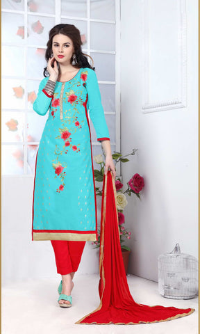 Aqua Blue Color Glass Cotton Embroidery Work Semi-Stitched Designer Salwar Suit.