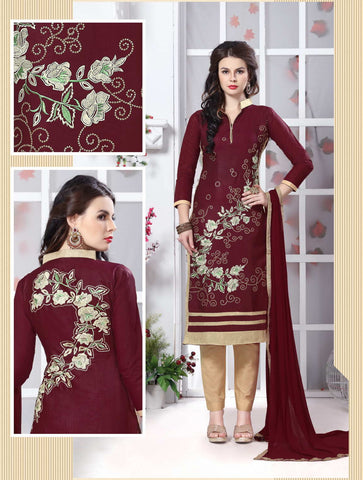 Maroon Color Glass Cotton Embroidery Work Semi-Stitched Designer Salwar Suit.
