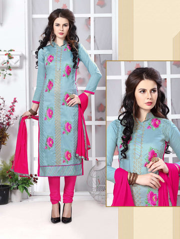 Light Blue Color Glass Cotton Embroidery Work Semi-Stitched Designer Salwar Suit.