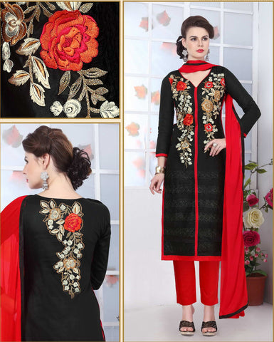 Black Color Glass Cotton Embroidery Work Semi-Stitched Designer Salwar Suit.