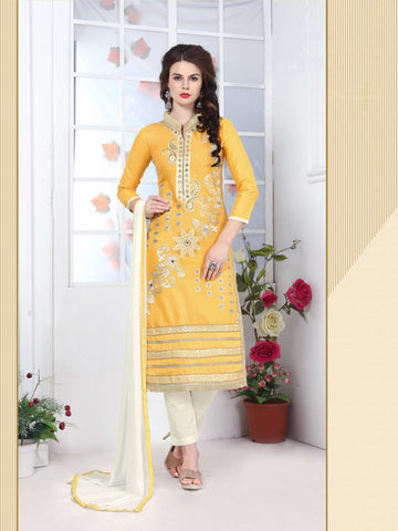 Yellow Color Glass Cotton Embroidery Work Semi-Stitched Designer Salwar Suit.